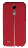 LG K10 2017 Kadife Dokulu Kırmızı Silikon Kılıf