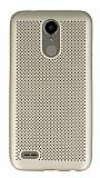 LG K10 2017 Noktalı Mat Gold Silikon Kılıf