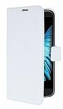 LG K10 Cüzdanlı Yan Kapaklı Beyaz Deri Kılıf