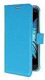 LG K10 Cüzdanlı Yan Kapaklı Mavi Deri Kılıf