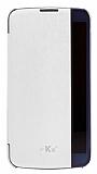 Voia LG K10 Flip Cover Beyaz Kılıf
