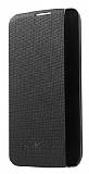 LG K10 Pencereli İnce Yan Kapaklı Siyah Kılıf