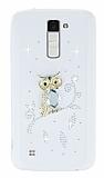 LG K10 Taşlı Baykuş Şeffaf Silikon Kılıf