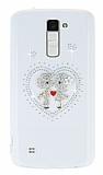 LG K10 Taşlı Love Şeffaf Silikon Kılıf