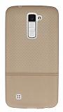 LG K10 Ultra İnce Noktalı Krem Silikon Kılıf