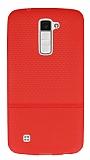 LG K10 Ultra İnce Noktalı Kırmızı Silikon Kılıf