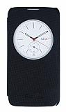 LG K4 Pencereli İnce Yan Kapaklı Siyah Kılıf