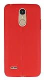LG K8 2017 Deri Desenli Ultra İnce Kırmızı Silikon Kılıf