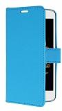 LG K8 Cüzdanlı Yan Kapaklı Mavi Deri Kılıf