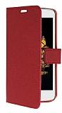 LG K8 Cüzdanlı Yan Kapaklı Kırmızı Deri Kılıf