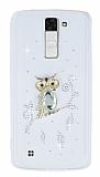 LG K8 Taşlı Baykuş Şeffaf Silikon Kılıf