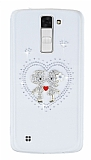 LG K8 Taşlı Love Şeffaf Silikon Kılıf