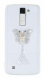LG K8 Taşlı Kelebek Şeffaf Silikon Kılıf