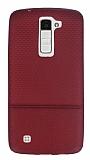 LG K8 Ultra İnce Noktalı Bordo Silikon Kılıf