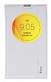 LG L Fino Gizli M�knat�sl� Pencereli Beyaz Deri K�l�f