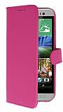 HTC One E8 C�zdanl� Yan Kapakl� Pembe Deri K�l�f