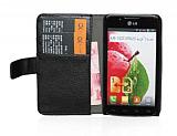 LG Optimus L7 2 C�zdanl� Standl� Deri K�l�f Siyah