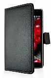 LG Optimus L7 2 C�zdanl� Yan Kapakl� Siyah Deri K�l�f