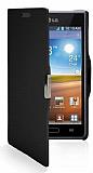 LG P700 Optimus L7 M�knat�sl� Yan Kapakl� Siyah Deri K�l�f