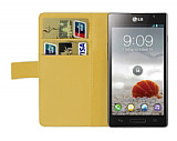 LG Optimus L9 P760 Beyaz Yan C�zdanl� K�l�f
