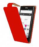 LG Optimus L9 P760 K�rm�z� Kapakl� Deri K�l�f