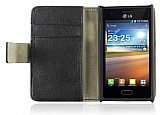 LG P700 Optimus L7 Standl� C�zdanl� Siyah Deri K�l�f