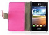 LG P700 Optimus L7 Standl� C�zdanl� Pembe Deri K�l�f