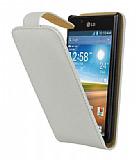 LG P700 Optimus L7 Beyaz Kapakl� Deri K�l�f