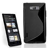 LG P700 Optimus L7 Desenli Siyah Silikon Kılıf