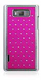 LG P700 Optimus L7 Ekose Ta�l� Pembe Sert Rubber K�l�f