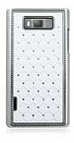 LG P700 Optimus L7 Ekose Ta�l� Beyaz Sert Rubber K�l�f