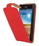 LG P700 Optimus L7 Kırmızı Kapaklı Deri Kılıf