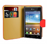 LG P700 Optimus L7 K�rm�z� Yan C�zdanl� K�l�f