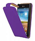 LG P700 Optimus L7 Mor Kapakl� Deri K�l�f