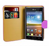 LG P700 Optimus L7 Pembe Yan C�zdanl� K�l�f