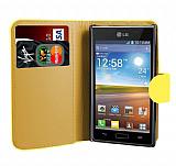 LG P700 Optimus L7 Sarı Yan Cüzdanlı Kılıf