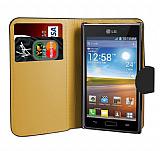 LG P700 Optimus L7 Siyah Yan C�zdanl� K�l�f