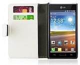 LG P700 Optimus L7 Standl� C�zdanl� Beyaz Deri K�l�f