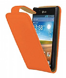 LG P700 Optimus L7 Turuncu Kapakl� Deri K�l�f