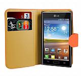 LG P700 Optimus L7 Turuncu Yan C�zdanl� K�l�f