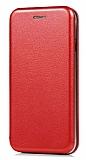 LG Q6 Curve Manyetik Kapaklı Kırmızı Deri Kılıf