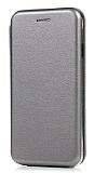 LG Q6 Curve Manyetik Kapaklı Silver Deri Kılıf