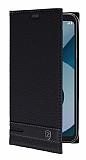 LG Q6 Gizli Mıknatıslı Yan Kapaklı Siyah Deri Kılıf