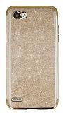 LG Q6 Simli Gold Silikon Kılıf