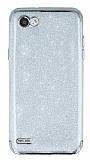 LG Q6 Simli Silver Silikon Kılıf