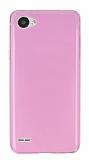 LG Q6 Ultra İnce Şeffaf Pembe Silikon Kılıf