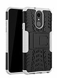 LG Q7 / Q7 Plus Süper Koruma Standlı Beyaz Kılıf