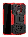 LG Q7 / Q7 Plus Süper Koruma Standlı Kırmızı Kılıf