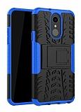 LG Q7 / Q7 Plus Süper Koruma Standlı Mavi Kılıf