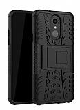 LG Q7 / Q7 Plus Süper Koruma Standlı Siyah Kılıf